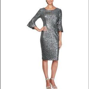 Alex Evenings Gunmetal Gray Sequin elegant dress